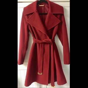 DVF 'Nikki' Red Belted Wool Wrap Coat S